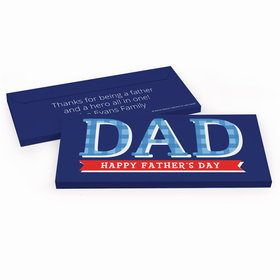Deluxe Personalized Father's Day Plaid Chocolate Bar in Gift Box