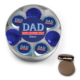 Personalized Bonnie Marcus Collection Father's Day Chocolate Covered Oreo Cookies XL Silver Plastic Tin