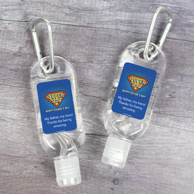 Personalized Father's Day Super Dad Hand Sanitizer with Carabiner - 1 fl. Oz.