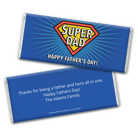 Personalized Bonnie Marcus Collection Father's Day Super Dad Chocolate Bar Wrappers Only