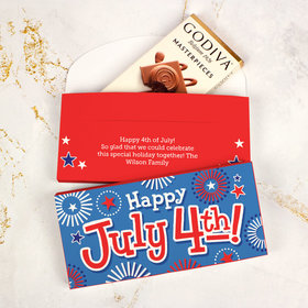Personalized Fireworks Independence Day Godiva Chocolate Bar in Gift Box