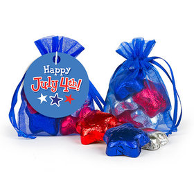 Bonnie Marcus Independence Day Fireworks Milk Chocolate Stars in Organza Bags with Gift Tag