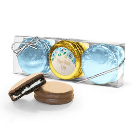 Bonnie Marcus Collection Blue Flowers Mother's Day 3PK Chocolate Covered Oreo Cookies