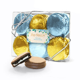 Bonnie Marcus Collection Personalized Blue Flowers Mother's Day 6PK Chocolate Covered Oreo Cookies
