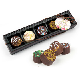 Bonnie Marcus Mother's Day Pink Flowers Gourmet Chocolate Truffle Gift Box (5 Truffles)