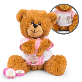 Mother's Day Pink Flowers Teddy Bear with Chocolate Coins in XS Organza Bag