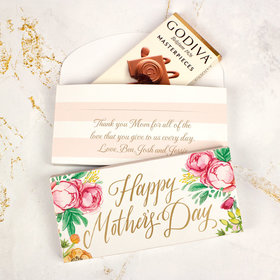 Personalized Pink Flowers Mother's Day Godiva Chocolate Bar in Gift Box