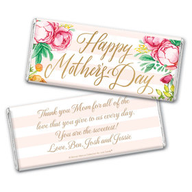 Personalized Bonnie Marcus Mother's Day Pink Flowers Chocolate Bar Wrappers Only