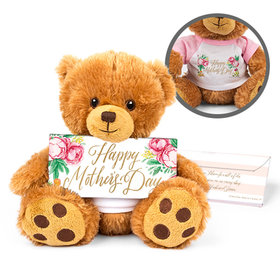 Personalized Mother's Day Pink Flowers Teddy Bear with Belgian Chocolate Bar in Deluxe Gift Box