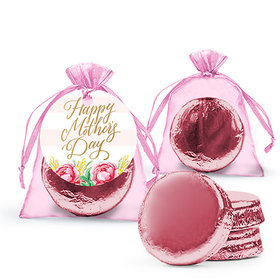 Personalized Mother's Day Pink Flowers Milk Chocolate Covered Oreo in Organza Bags with Gift Tag