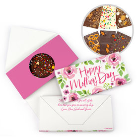 Personalized Pink Flowers Bonnie Marcus Mother's Day Gourmet Infused Belgian Chocolate Bars (3.5oz)