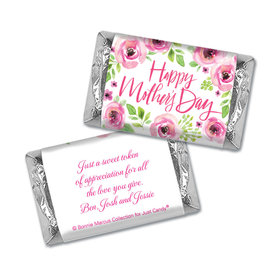 Personalized Bonnie Marcus Mother's Day Pink Floral Hershey's Miniatures Wrappers