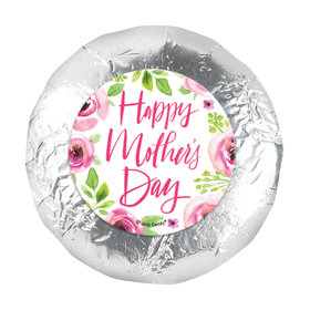 Personalized 1.25in Stickers - Bonnie Marcus Mother's Day Pink Floral (48 Stickers)