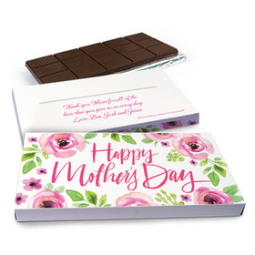 Deluxe Personalized Pink Floral Mother's Day Chocolate Bar in Gift Box (3oz Bar)