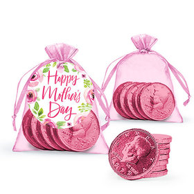 Personalized Mother's Day Pink Floral Milk Chocolate Coins in Organza Bags with Gift Tag