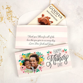 Personalized Floral Photos Mother's Day Godiva Chocolate Bar in Gift Box