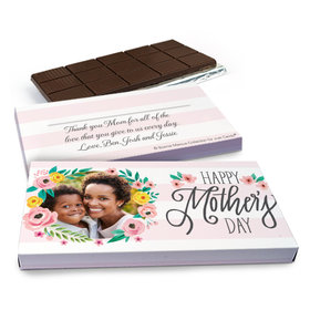 Deluxe Personalized Floral Photo Mother's Day Chocolate Bar in Gift Box (3oz Bar)