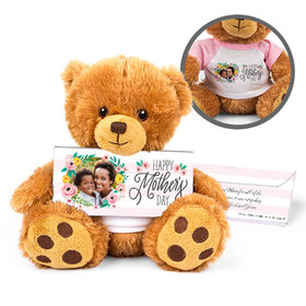 Personalized Mother's Day Floral Photo Teddy Bear with Belgian Chocolate Bar in Deluxe Gift Box