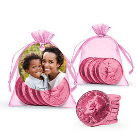 Personalized Mother's Day Photo Milk Chocolate Coins in Organza Bags with Gift Tag