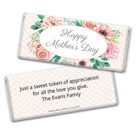 Personalized Bonnie Marcus Collection Painted Flowers Mother's Day Chocolate Bar Wrappers