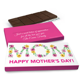 Deluxe Personalized Floral Mom Mother's Day Chocolate Bar in Gift Box (3oz Bar)