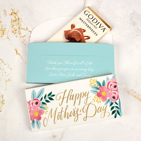 Personalized Floral Mother's Day Godiva Chocolate Bar in Gift Box