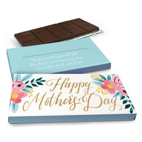Deluxe Personalized Floral Mother's Day Chocolate Bar in Gift Box (3oz Bar)