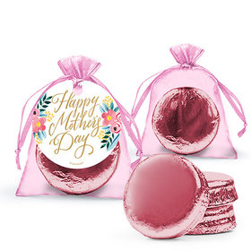 Personalized Mother's Day Floral Milk Chocolate Covered Oreo in Organza Bags with Gift Tag