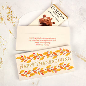 Deluxe Personalized Bonnie Marcus Thanksgiving Giving Thanks Godiva Chocolate Bar in Gift Box