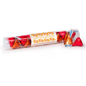 Personalized Thanksgiving Giving Thanks Gumball Tube with Hershey's Kisses