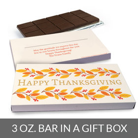 Deluxe Personalized Bonnie Marcus Giving Thanks Thanksgiving Chocolate Bar in Gift Box (3oz Bar)