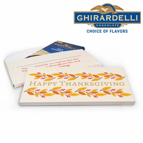 Deluxe Personalized Giving Thanks Thanksgiving Ghirardelli Peppermint Bark Bar in Gift Box (3.5oz)