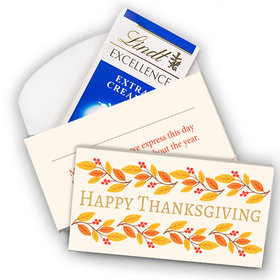 Deluxe Personalized Giving Thanks Thanksgiving Lindt Chocolate Bar in Gift Box (3.5oz)