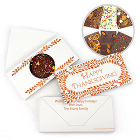 Personalized Bonnie Marcus Thanksgiving Leaves Gourmet Infused Belgian Chocolate Bars (3.5oz)
