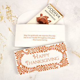 Deluxe Personalized Bonnie Marcus Thanksgiving Leaves Godiva Chocolate Bar in Gift Box
