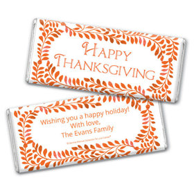 Personalized Bonnie Marcus Leaves Thanksgiving Chocolate Bar & Wrapper