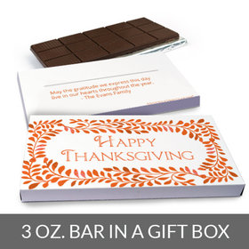 Deluxe Personalized Bonnie Marcus Fall Leaves Thanksgiving Chocolate Bar in Gift Box (3oz Bar)