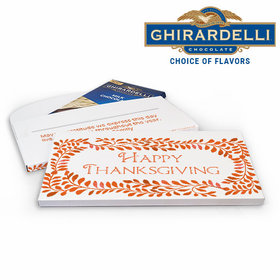 Deluxe Personalized Leaves Thanksgiving Ghirardelli Peppermint Bark Bar in Gift Box (3.5oz)