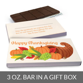 Deluxe Personalized Bonnie Marcus Cornucopia Thanksgiving Chocolate Bar in Gift Box (3oz Bar)