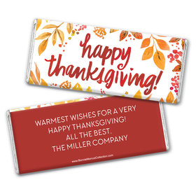 Personalized Bonnie Marcus Fall Foliage Thanksgiving Chocolate Bar & Wrapper