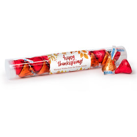 Personalized Thanksgiving Fall Foliage Gumball Tube with Hershey's Kisses