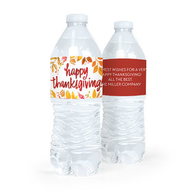 Personalized Bonnie Marcus Thanksgiving Fall Foliage Water Bottle Labels (5 Labels)