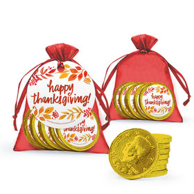 Bonnie Marcus Thanksgiving Fall Foliage Milk Chocolate Coins in Organza Bags with Gift Tag