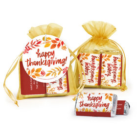 Personalized Thanksgiving Fall Foliage Hershey's Miniatures in Organza Bags with Gift Tag