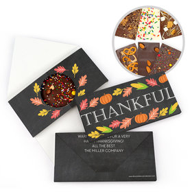 Personalized Bonnie Marcus Thanksgiving Thankful Chalkboard Gourmet Infused Belgian Chocolate Bars (3.5oz)