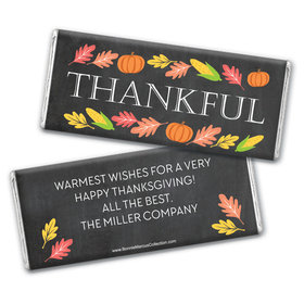 Personalized Bonnie Marcus Thankful Chalkboard Thanksgiving Chocolate Bar Wrappers