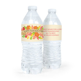 Personalized Bonnie Marcus Thanksgiving Happy Harvest Water Bottle Labels (5 Labels)
