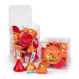 Thanksgiving Bountiful Thanks Hershey's Kisses Clear Gift Box with Sticker