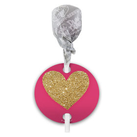 Pink Glitter Heart Valentine's Day Dum Dums with Gift Tag (75 pops)