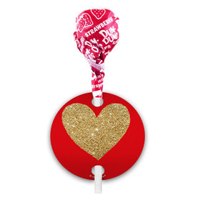 Red Glitter Heart Valentine's Day Dum Dums with Gift Tag (75 pops)
